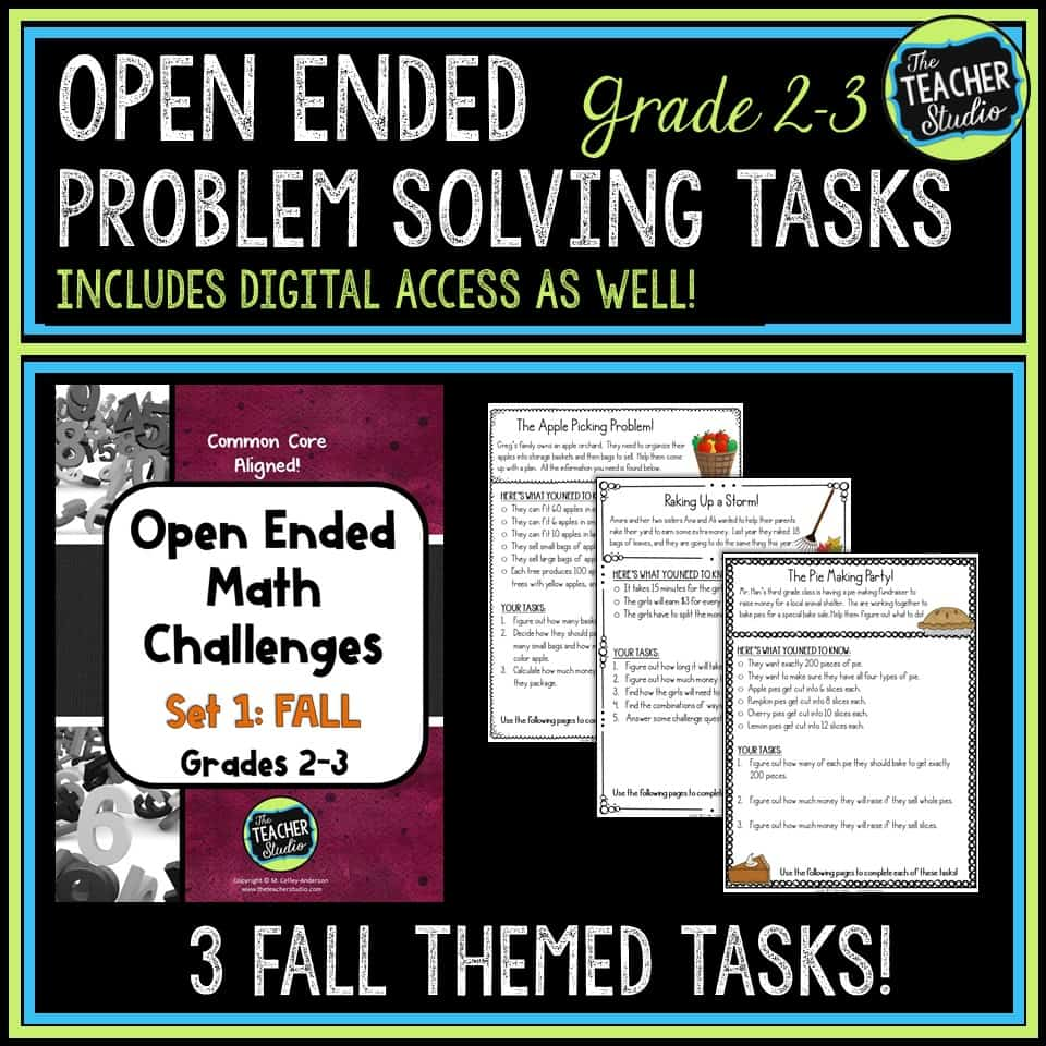 Great set of open ended math tasks for back to school or fall
