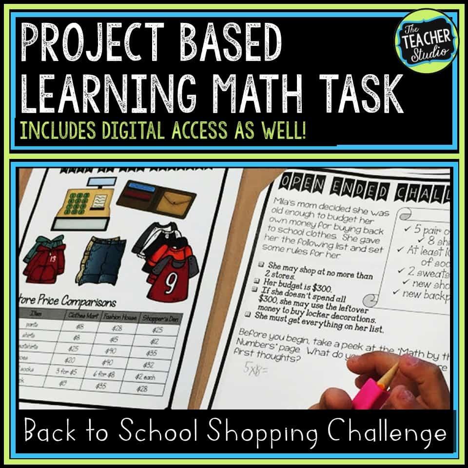Back to school PBL math problem solving challenge