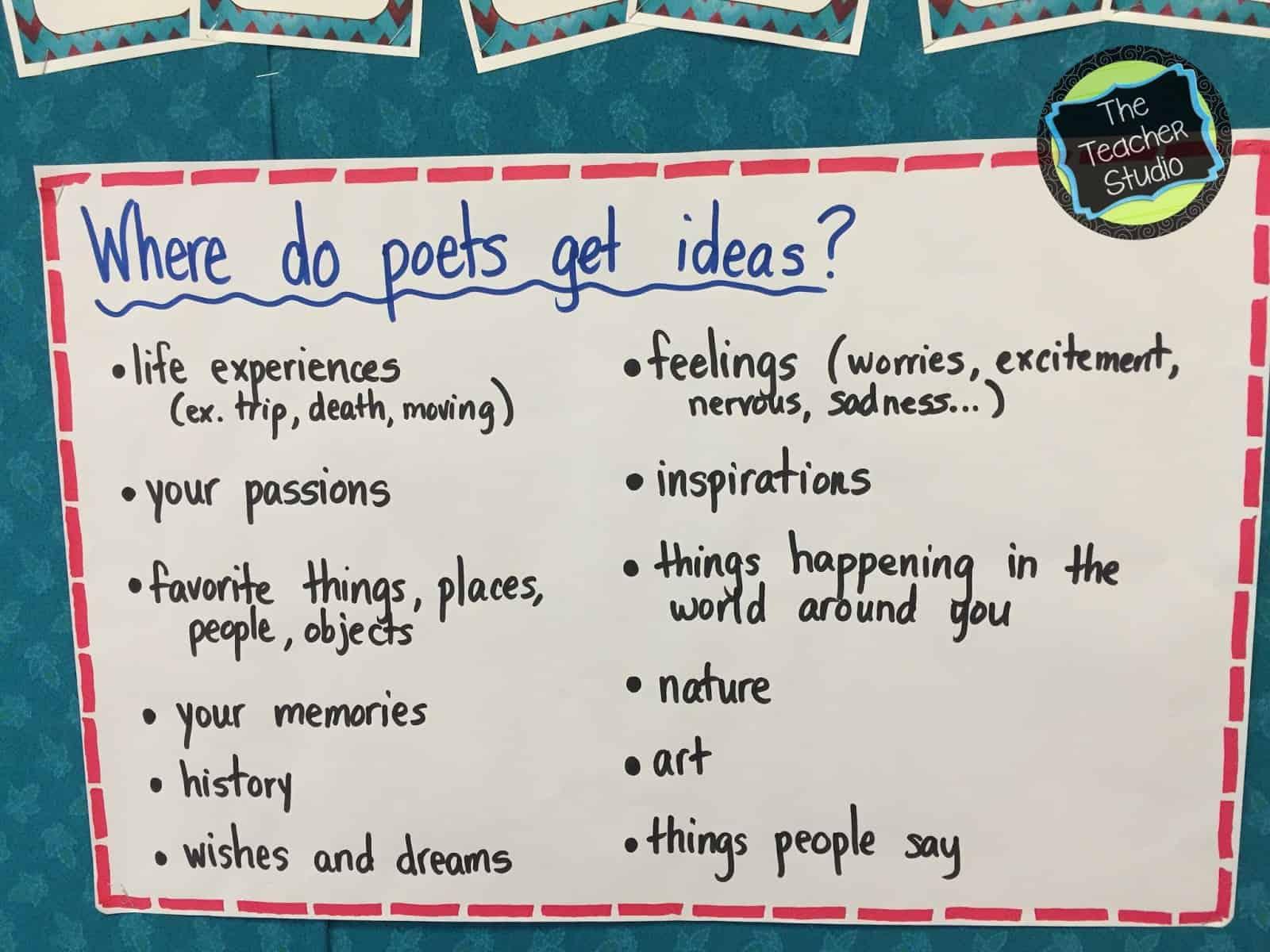 Kicking off our poetry studies    - The Teacher Studio