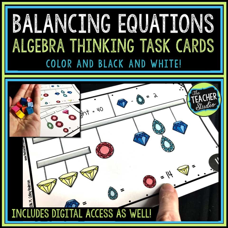 Problem solving task cards to work on algebraic thinking