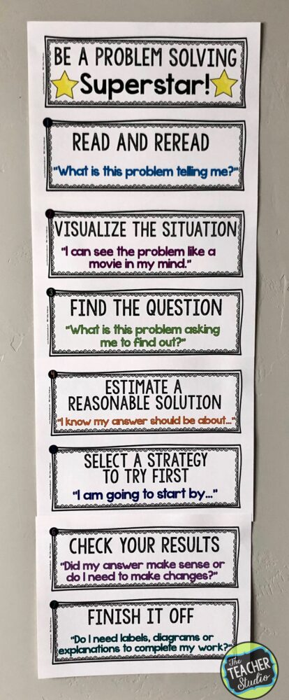 problem solving, word problems, math anchor charts, problem solving chart, teaching word problems
