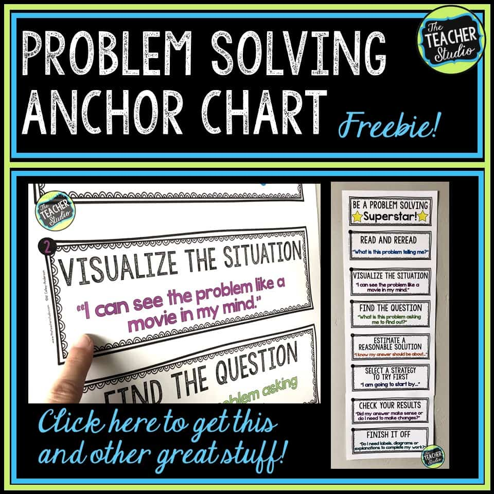 freebie, anchor chart, word problems, problem solving