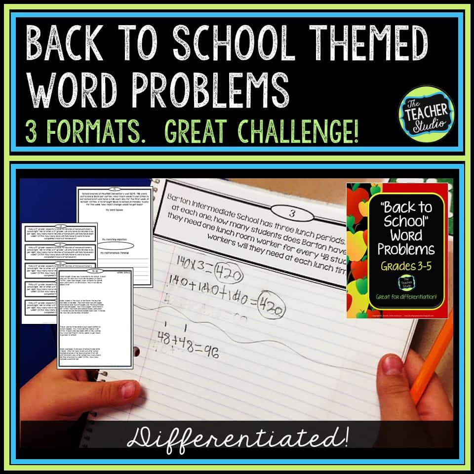 back to school, word problems, problem solving, third grade, fourth grade, fifth grade