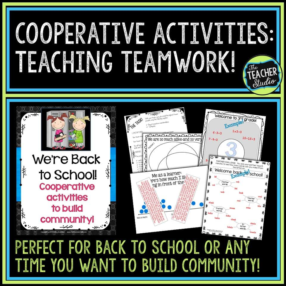 cooperative learning, teamwork lessons, third grade, fourth grade, fifth grade, back to school, back to school activities