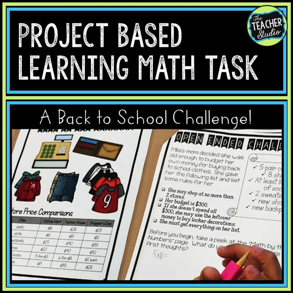 problem solving, back to school, project based learning, PBL, third grade, fourth grade, fifth grade, math task