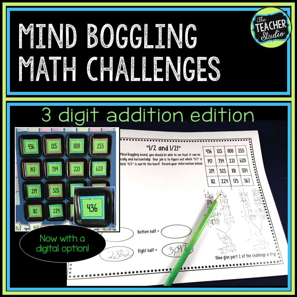 Looking for great math challenges that get students thinking while practicing addition with regrouping? Want a low-ink, ready to use resource that can also be delivered digitally or through distance learning? Check out this set of 10 (plus bonus!) challenges to get students problem solving, estimating, and much more!