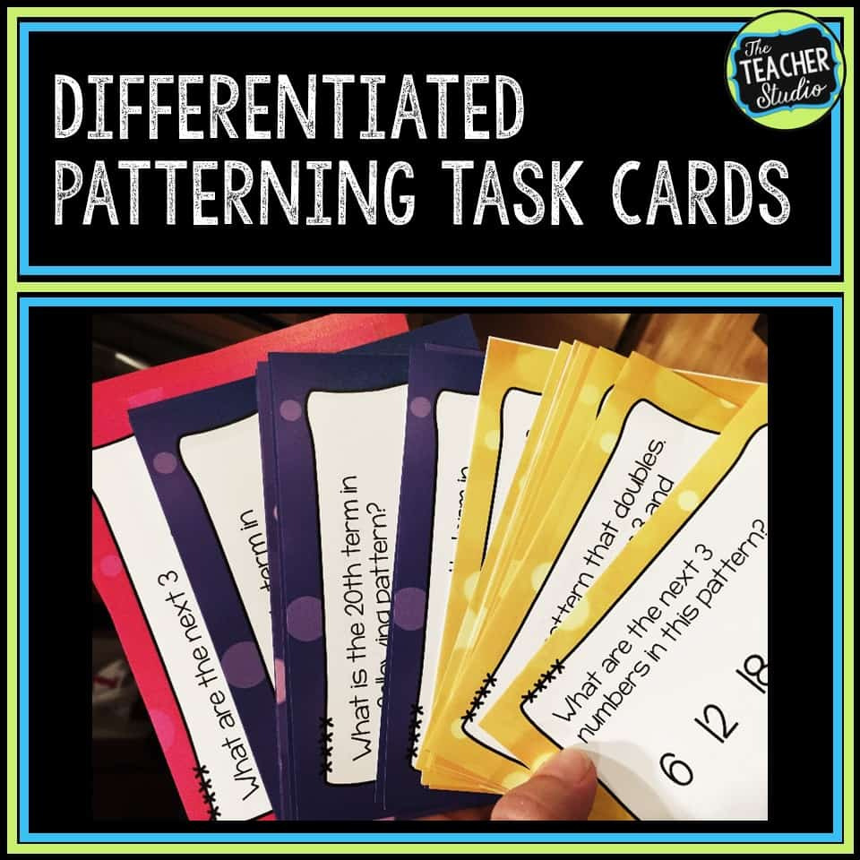 These differentiated math task cards can help you teach about extending and recognizing patterns.