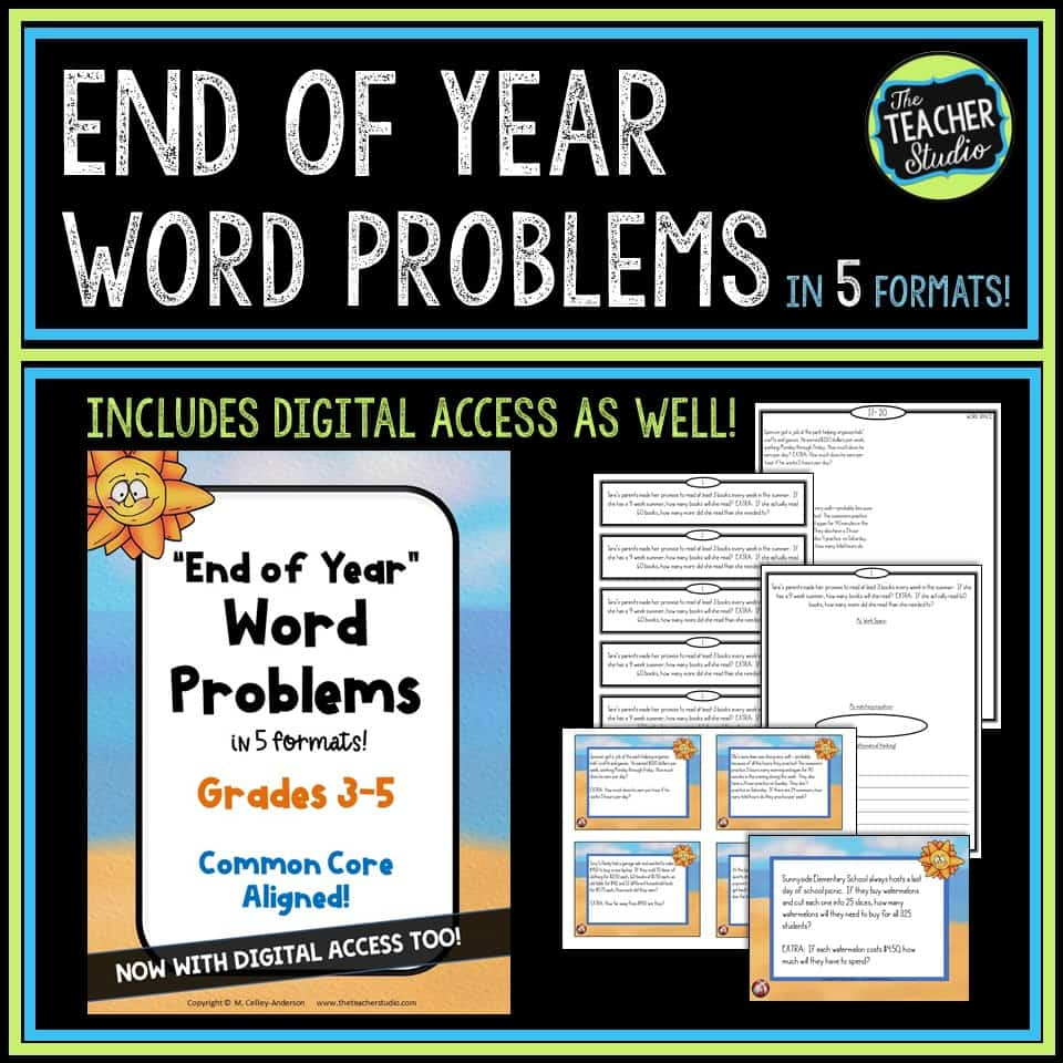 End of year word problems for problem solving lessons and math practice