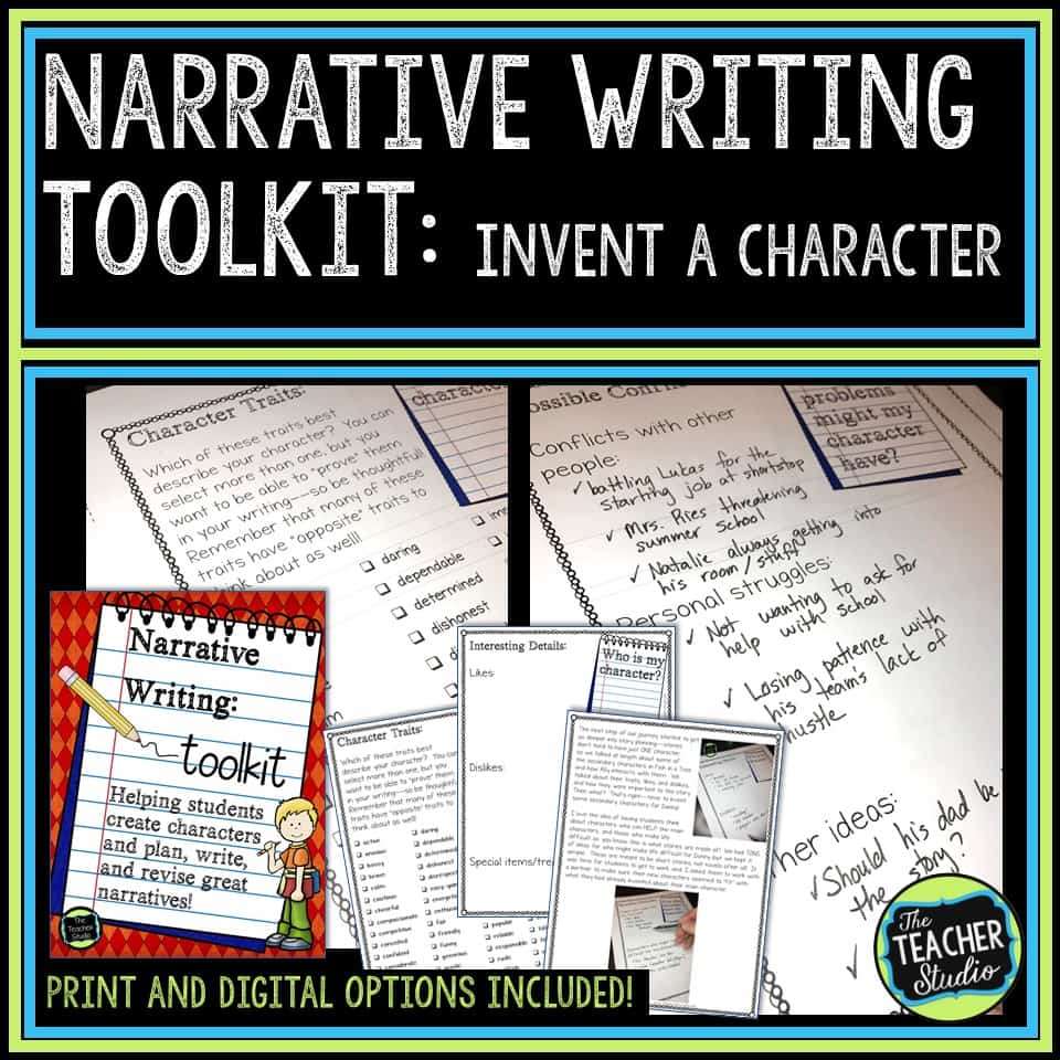 teaching narrative writing and character lessons and activities