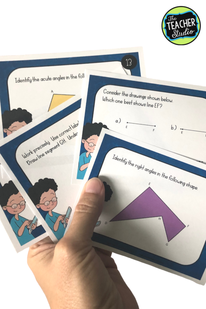 Using geometry task cards in math workshop, as math intervention, as math warm ups...all are great ways to teach students key geometry lessons.