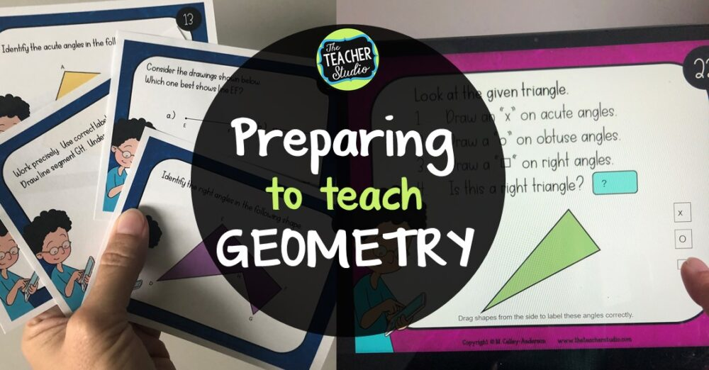 Teaching geometry lessons through task cards is engaging, low prep, and perfect for both in person and distance learning!