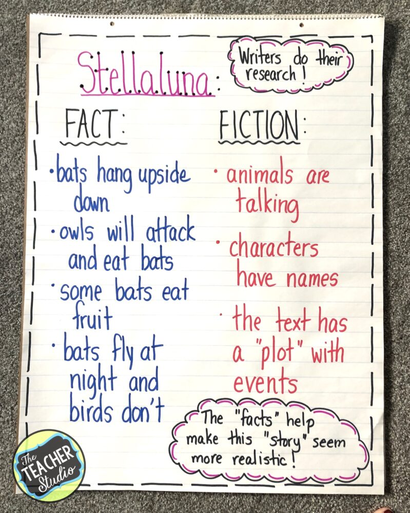Anchor charts and teaching tips for Stellaluna