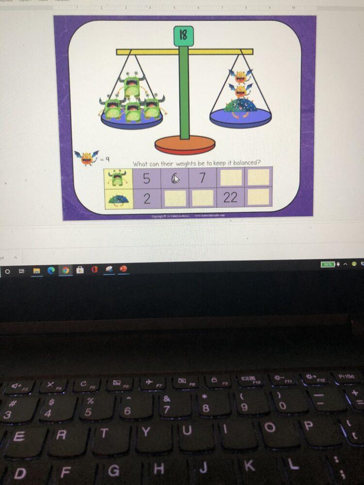 digital slides for monster math tasks!