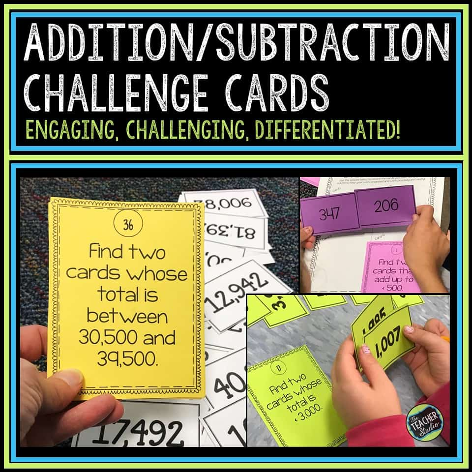 addition and subtraction challenge cards