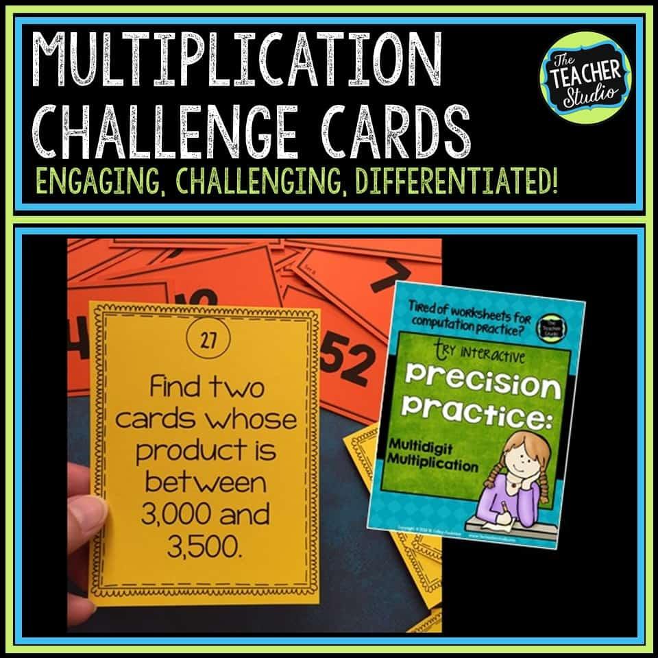 Multiplication challenge cards