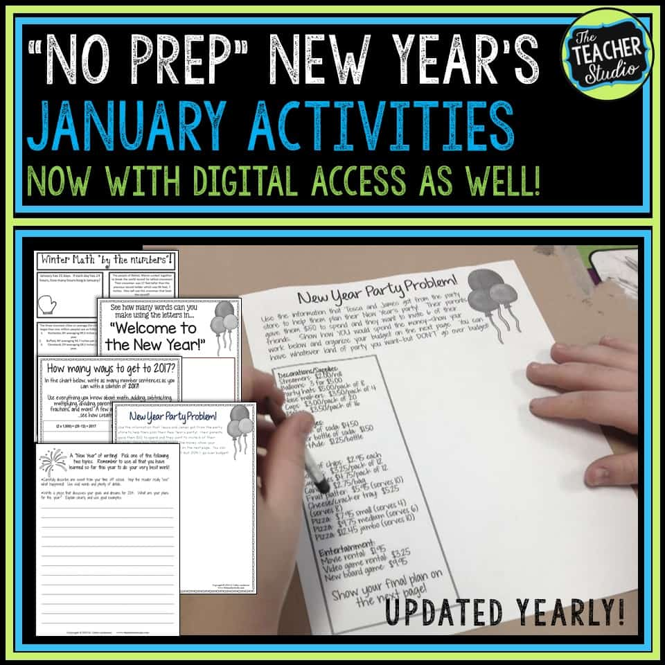 January Back to School Happy New Year's Activities