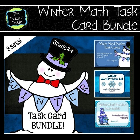 Winter Word Problems for grades 3 and 4