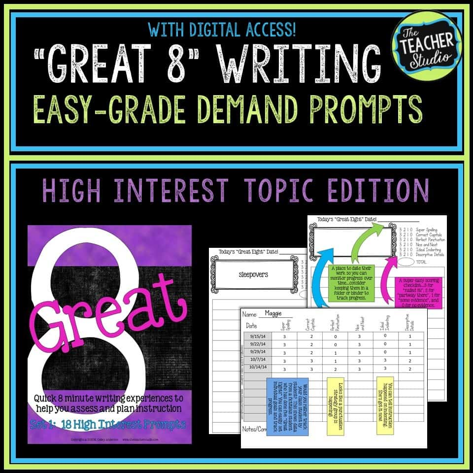 quick writing assessments for high interest topics