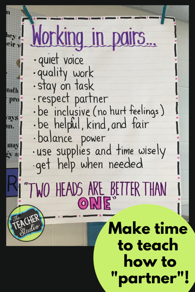 Teach students how to work in partners