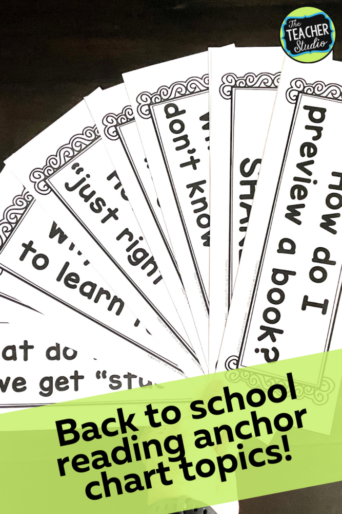 back to school reading anchor charts