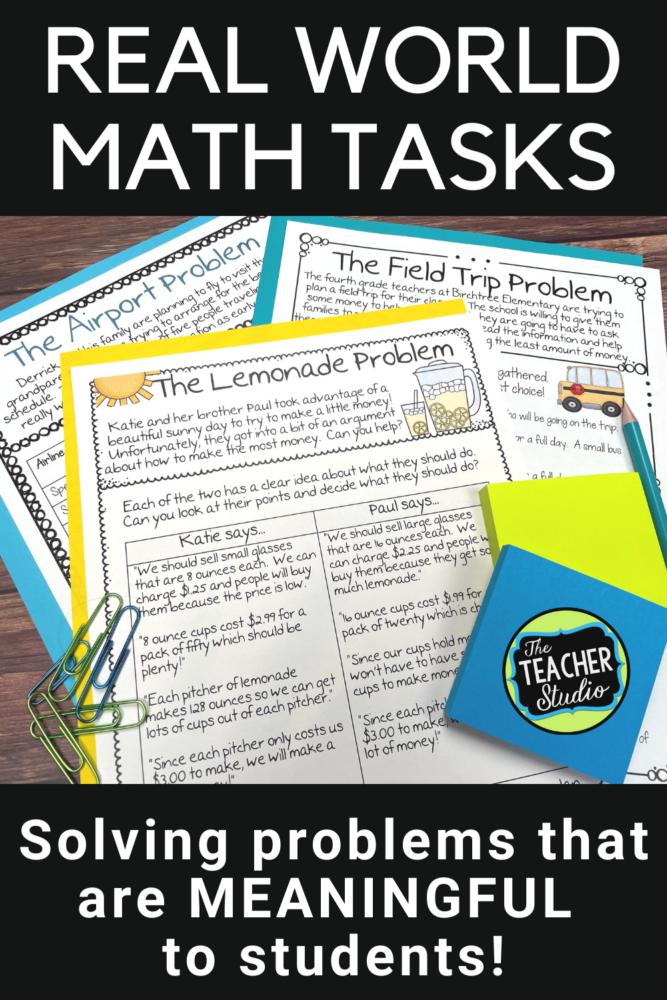 Using real world math tasks